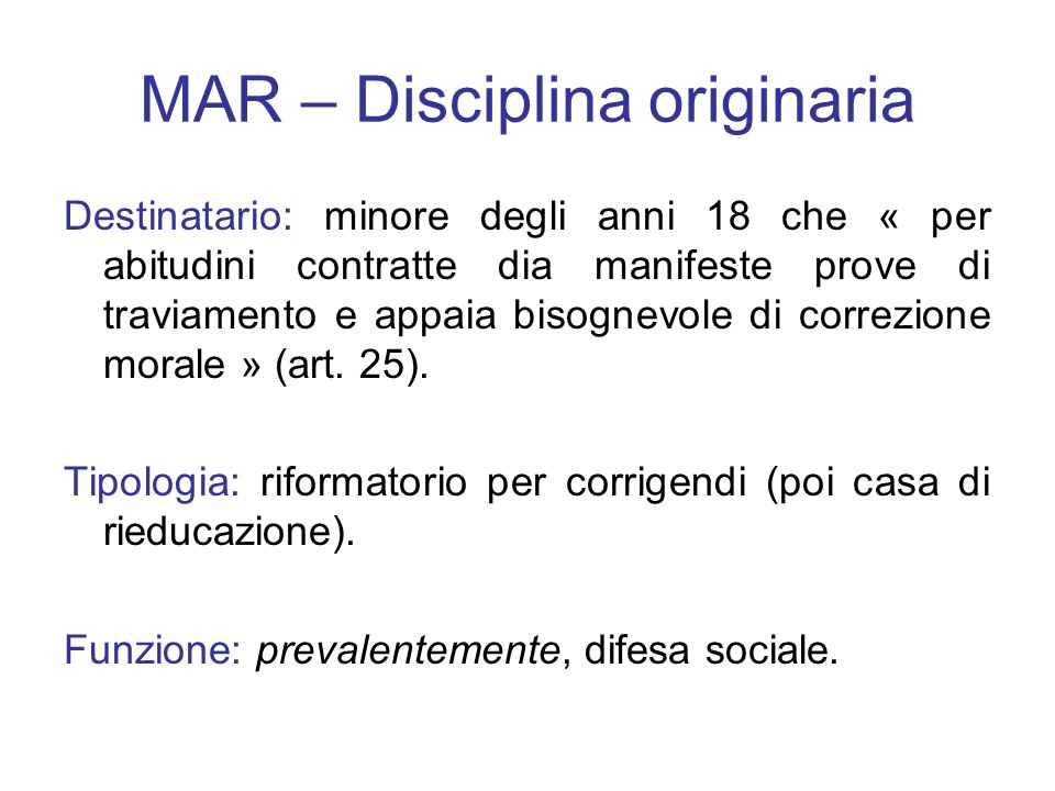 MAR – Disciplina originaria
