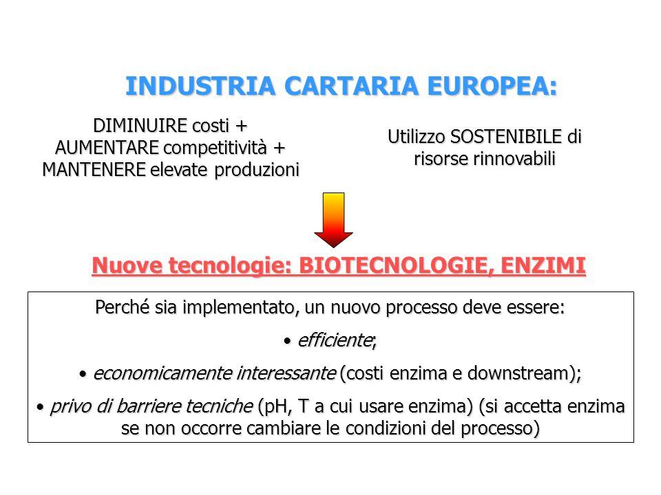 INDUSTRIA CARTARIA EUROPEA: Nuove tecnologie: BIOTECNOLOGIE, ENZIMI