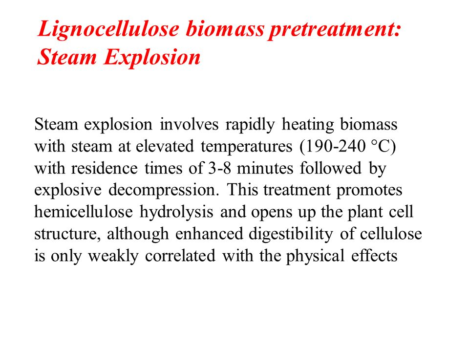 Lignocellulose biomass pretreatment: Steam Explosion