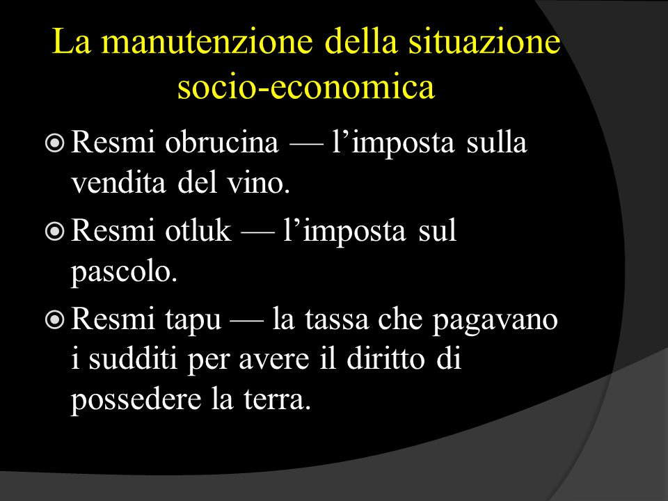 La manutenzione della situazione socio-economica