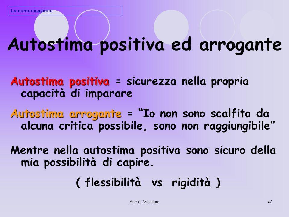 Autostima positiva ed arrogante
