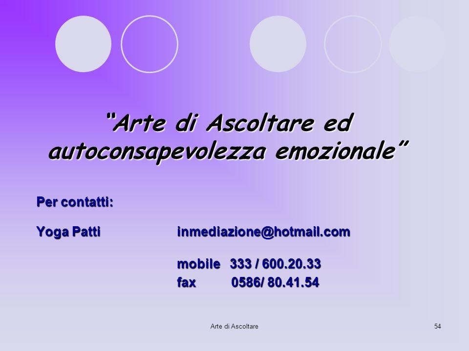 Arte di Ascoltare ed autoconsapevolezza emozionale