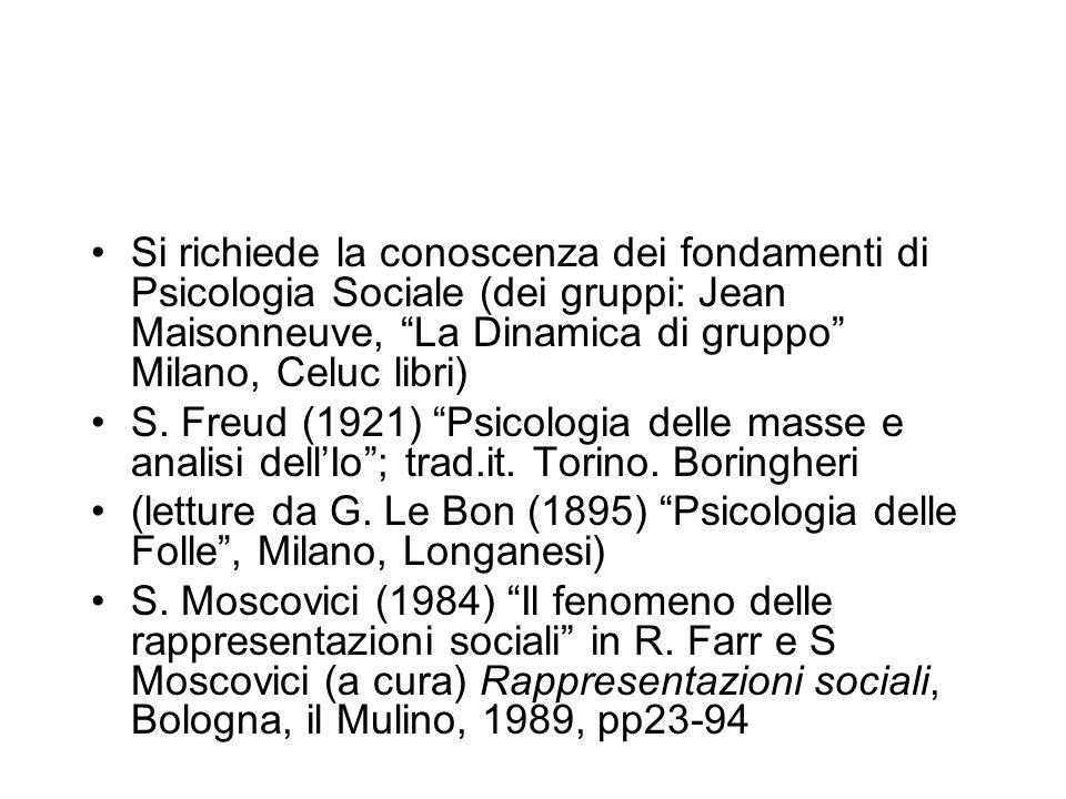 Si richiede la conoscenza dei fondamenti di Psicologia Sociale (dei gruppi: Jean Maisonneuve, La Dinamica di gruppo Milano, Celuc libri)