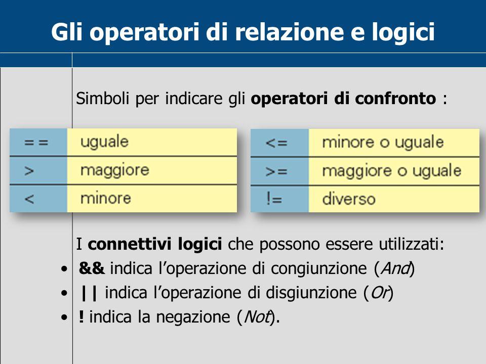 Gli operatori di relazione e logici