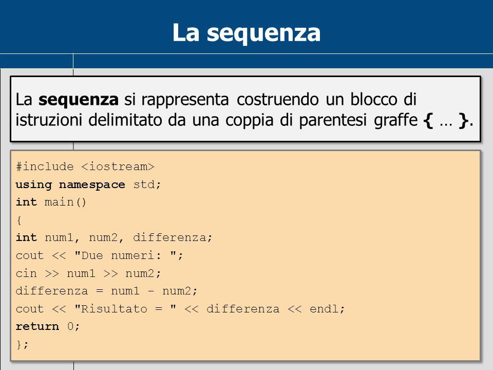 La sequenza La sequenza si rappresenta costruendo un blocco di istruzioni delimitato da una coppia di parentesi graffe { … }.