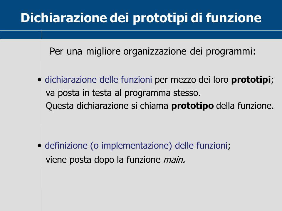 Dichiarazione dei prototipi di funzione