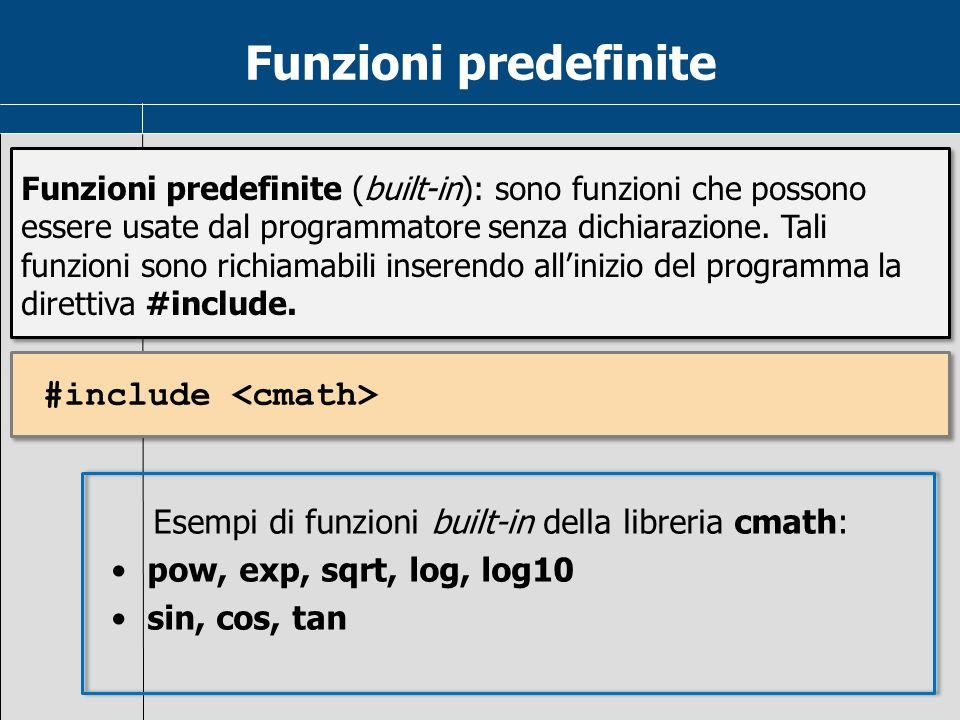 Funzioni predefinite #include <cmath>