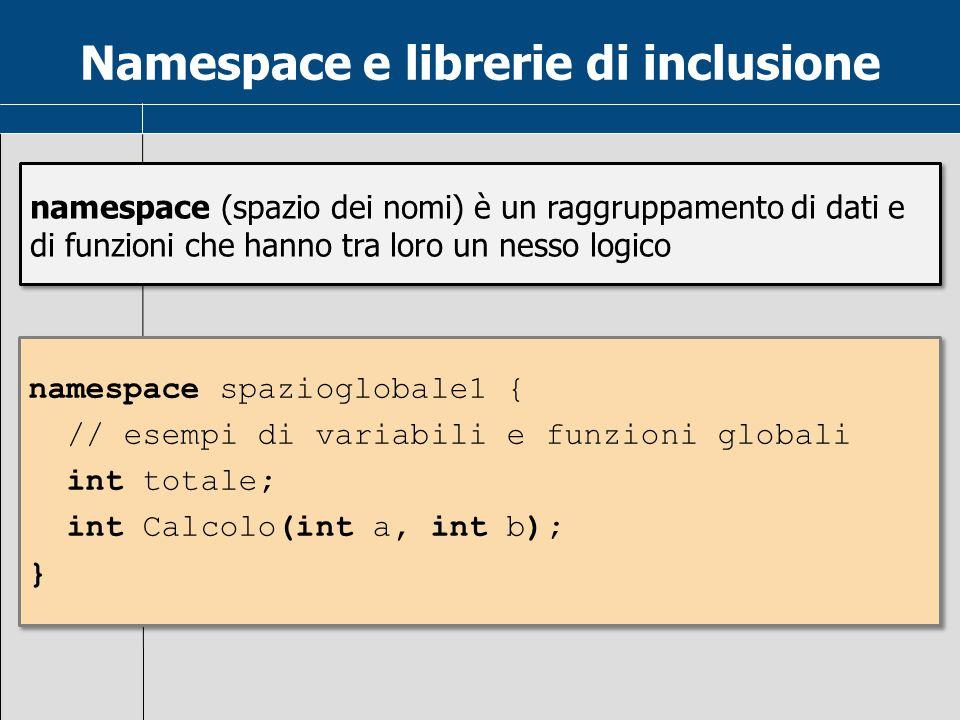 Namespace e librerie di inclusione