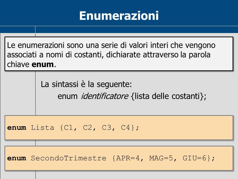 Enumerazioni Le enumerazioni sono una serie di valori interi che vengono associati a nomi di costanti, dichiarate attraverso la parola chiave enum.