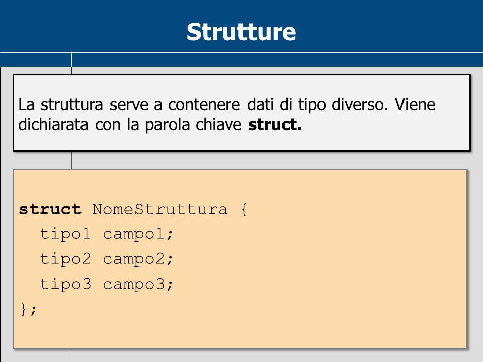 Strutture struct NomeStruttura { tipo1 campo1; tipo2 campo2;