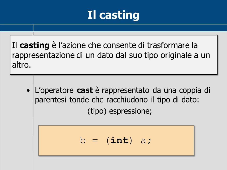 Il casting Il casting è l'azione che consente di trasformare la rappresentazione di un dato dal suo tipo originale a un altro.