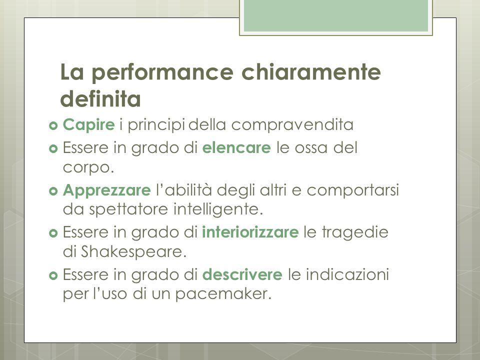 La performance chiaramente definita