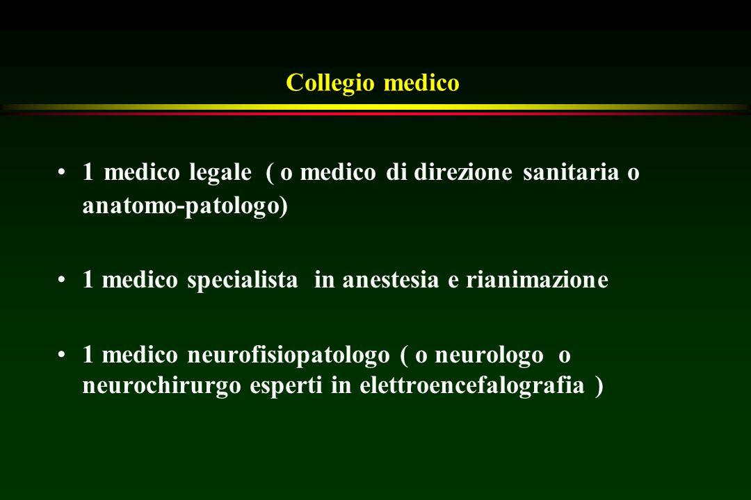 Collegio medico 1 medico legale ( o medico di direzione sanitaria o anatomo-patologo) 1 medico specialista in anestesia e rianimazione.