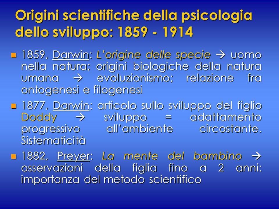 Origini scientifiche della psicologia dello sviluppo: 1859 - 1914