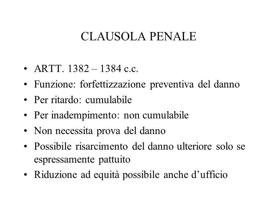 CLAUSOLA PENALE ARTT. 1382 – 1384 c.c.