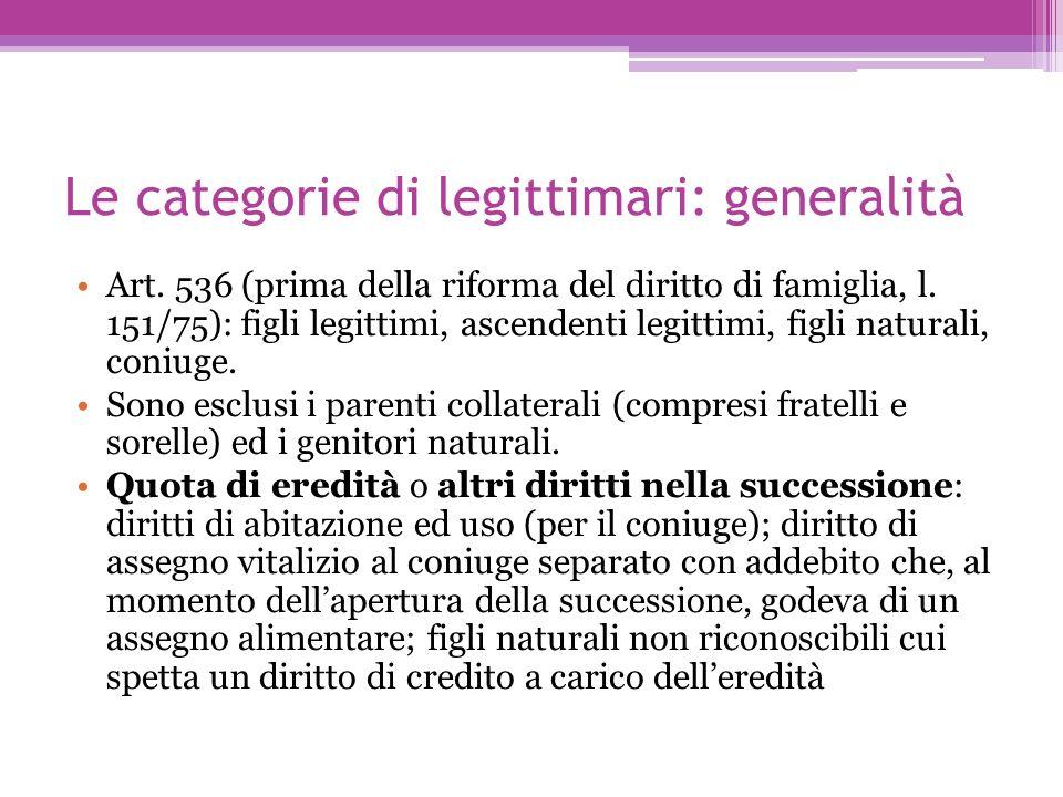 Le categorie di legittimari: generalità