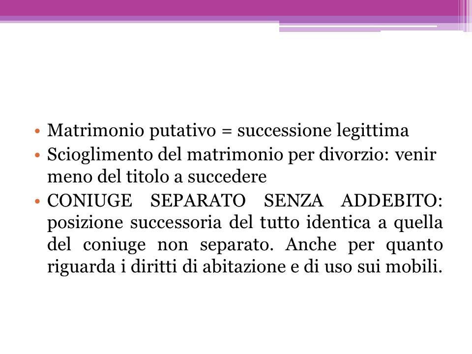 Matrimonio putativo = successione legittima