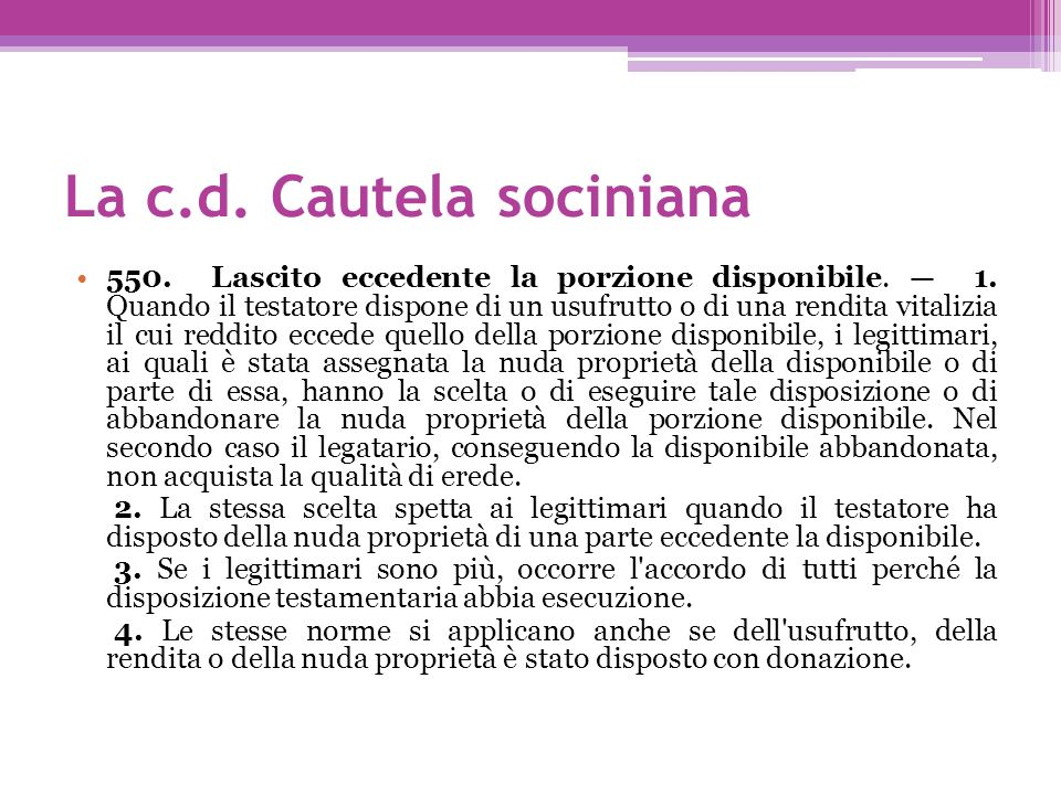 La c.d. Cautela sociniana