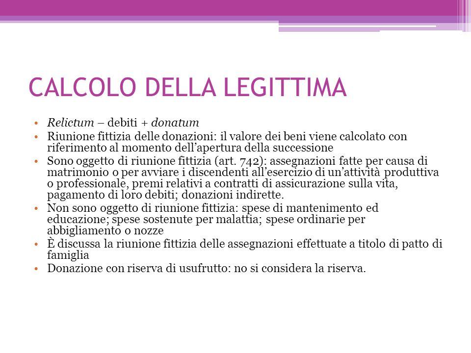 CALCOLO DELLA LEGITTIMA