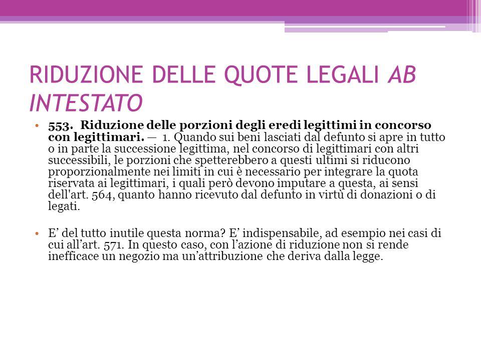 RIDUZIONE DELLE QUOTE LEGALI AB INTESTATO
