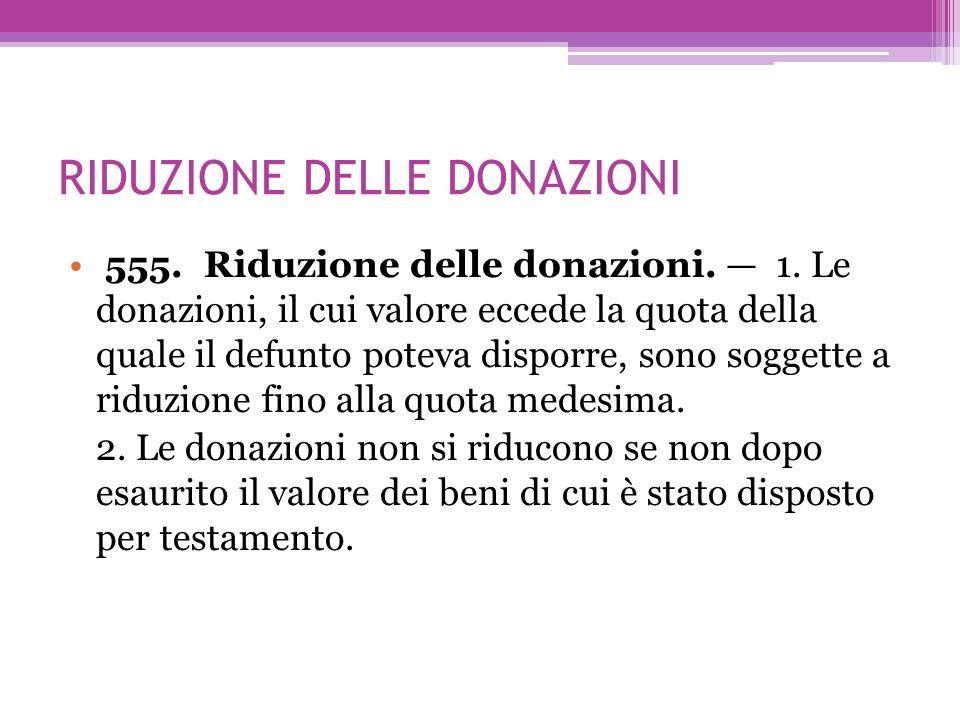 RIDUZIONE DELLE DONAZIONI