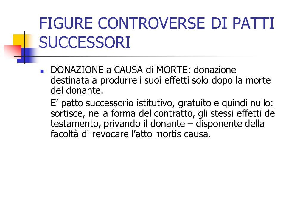 FIGURE CONTROVERSE DI PATTI SUCCESSORI