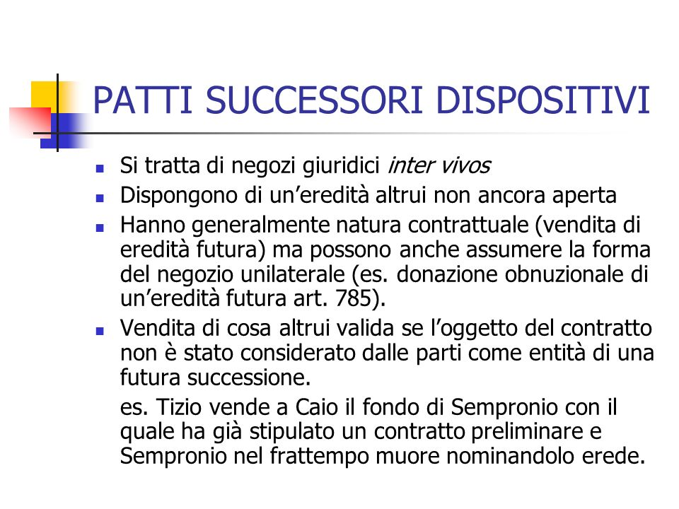 PATTI SUCCESSORI DISPOSITIVI