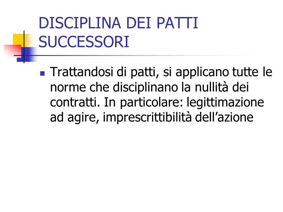 DISCIPLINA DEI PATTI SUCCESSORI