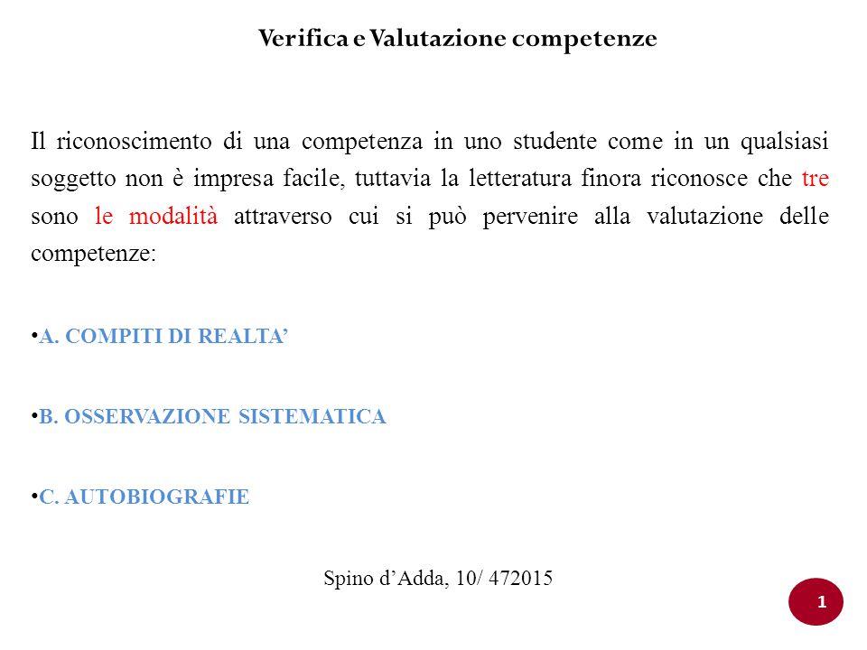 Verifica e Valutazione competenze