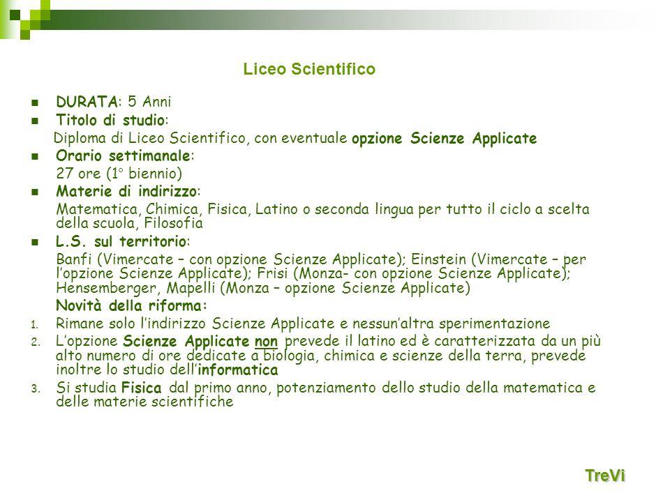 Liceo Scientifico TreVi DURATA: 5 Anni Titolo di studio: