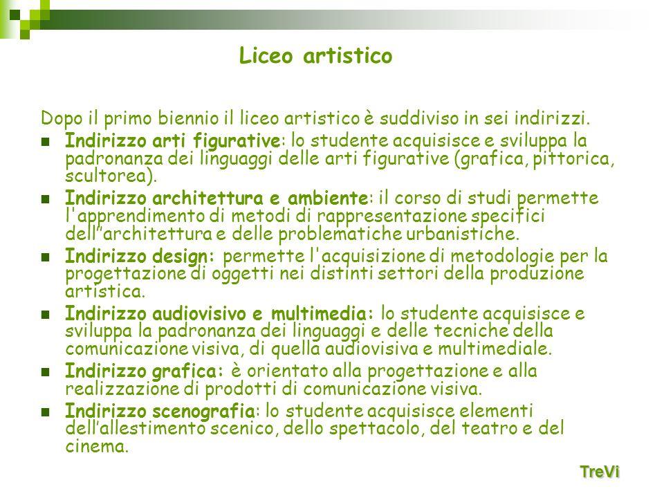 Liceo artistico Dopo il primo biennio il liceo artistico è suddiviso in sei indirizzi.