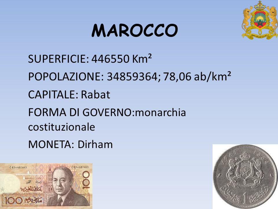 MAROCCO SUPERFICIE: 446550 Km² POPOLAZIONE: 34859364; 78,06 ab/km²