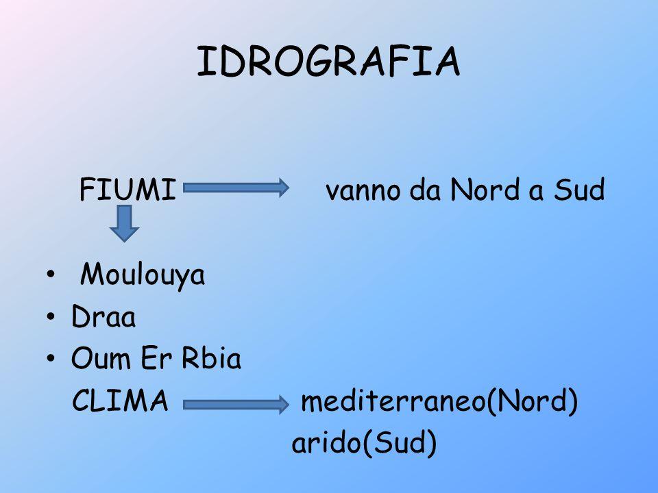 IDROGRAFIA FIUMI vanno da Nord a Sud Moulouya Draa Oum Er Rbia