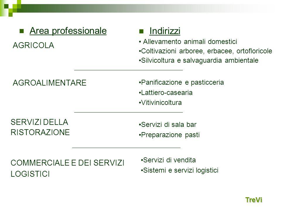 Area professionale Indirizzi AGRICOLA AGROALIMENTARE SERVIZI DELLA