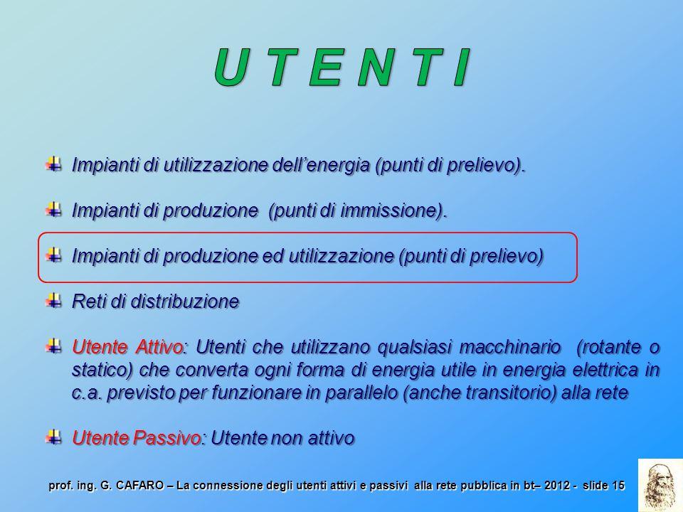 U T E N T I Impianti di utilizzazione dell'energia (punti di prelievo). Impianti di produzione (punti di immissione).