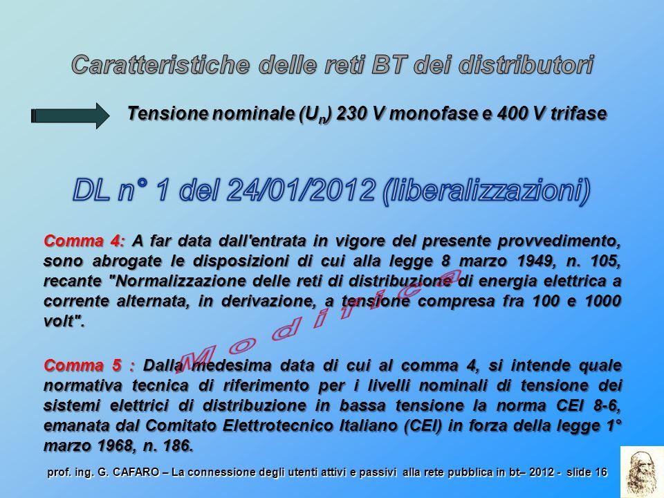 Caratteristiche delle reti BT dei distributori