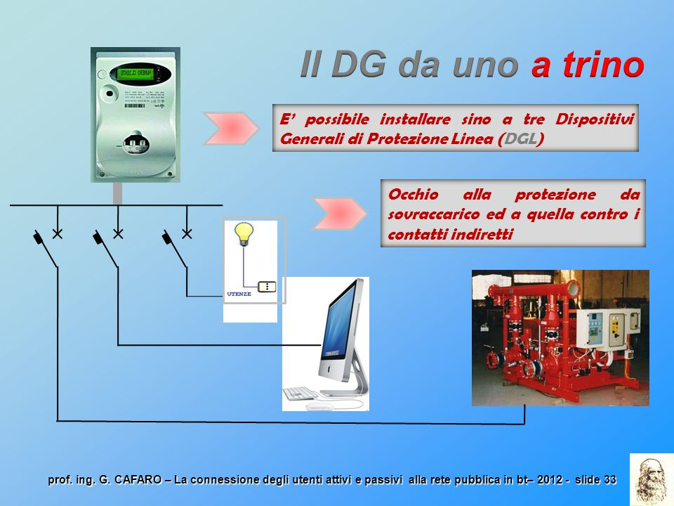 Il DG da uno a trino E' possibile installare sino a tre Dispositivi Generali di Protezione Linea (DGL)