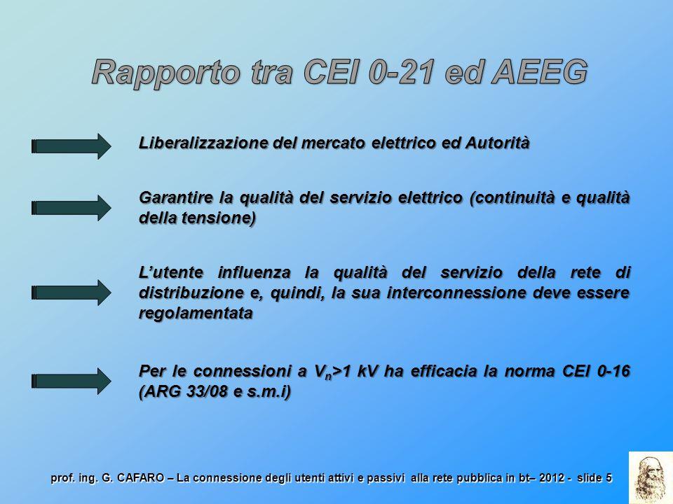 Rapporto tra CEI 0-21 ed AEEG