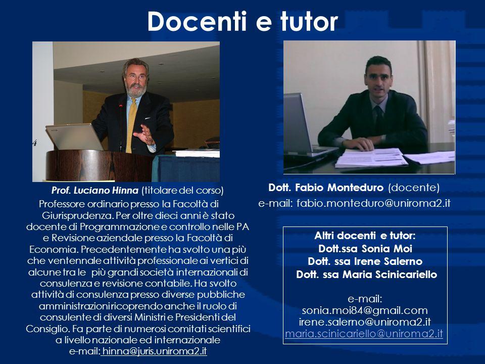 Docenti e tutor Dott. Fabio Monteduro (docente)