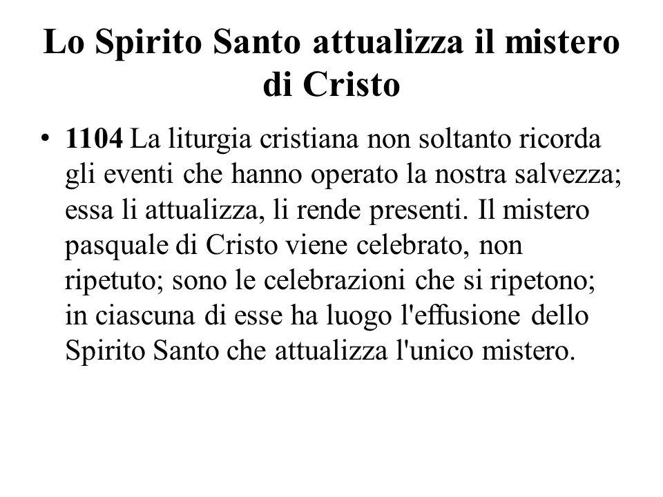 Lo Spirito Santo attualizza il mistero di Cristo
