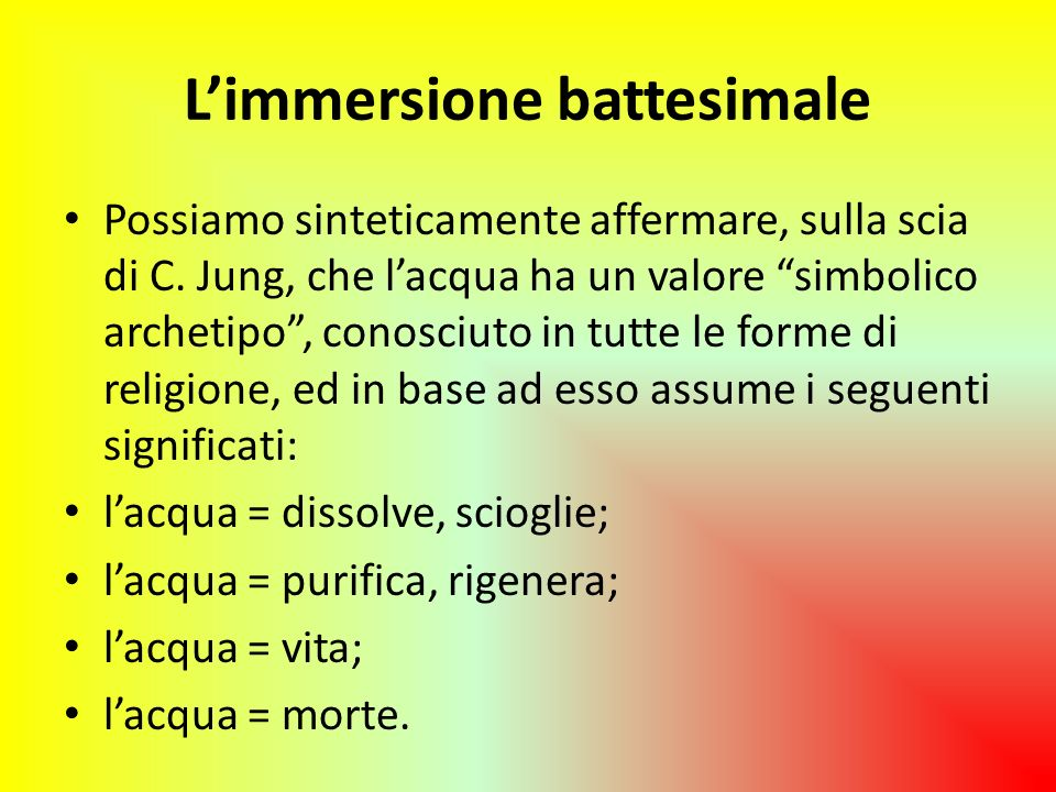 L'immersione battesimale