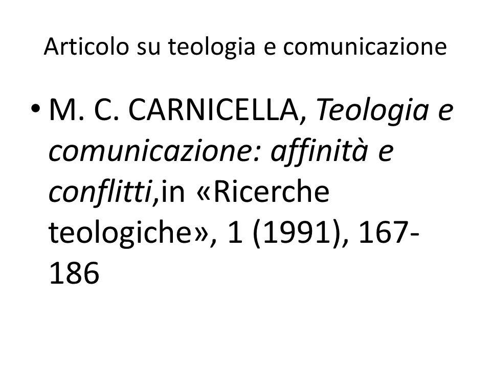 Articolo su teologia e comunicazione