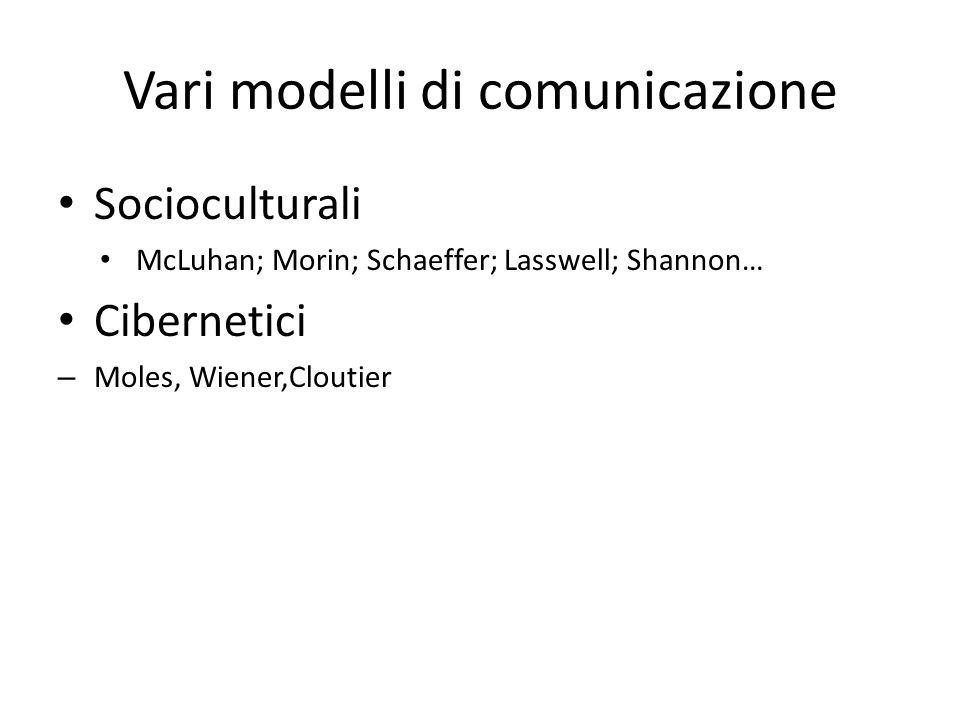 Vari modelli di comunicazione
