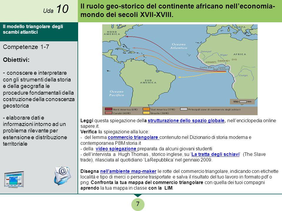 Uda 10 Il ruolo geo-storico del continente africano nell'economia- mondo dei secoli XVII-XVIII. Il modello triangolare degli scambi atlantici.