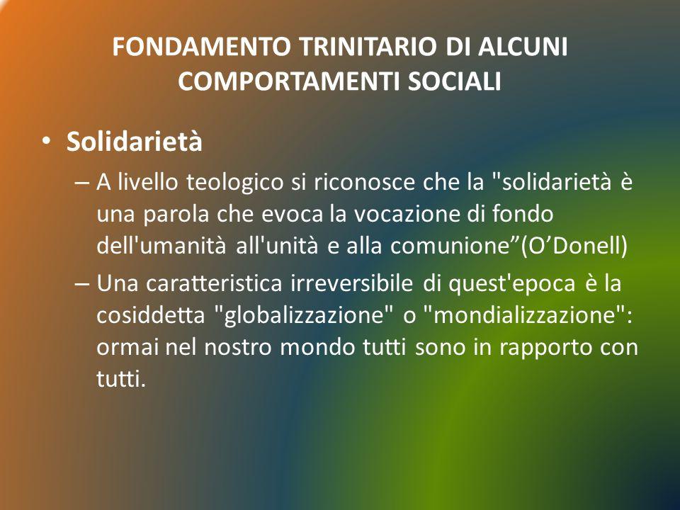 FONDAMENTO TRINITARIO DI ALCUNI COMPORTAMENTI SOCIALI