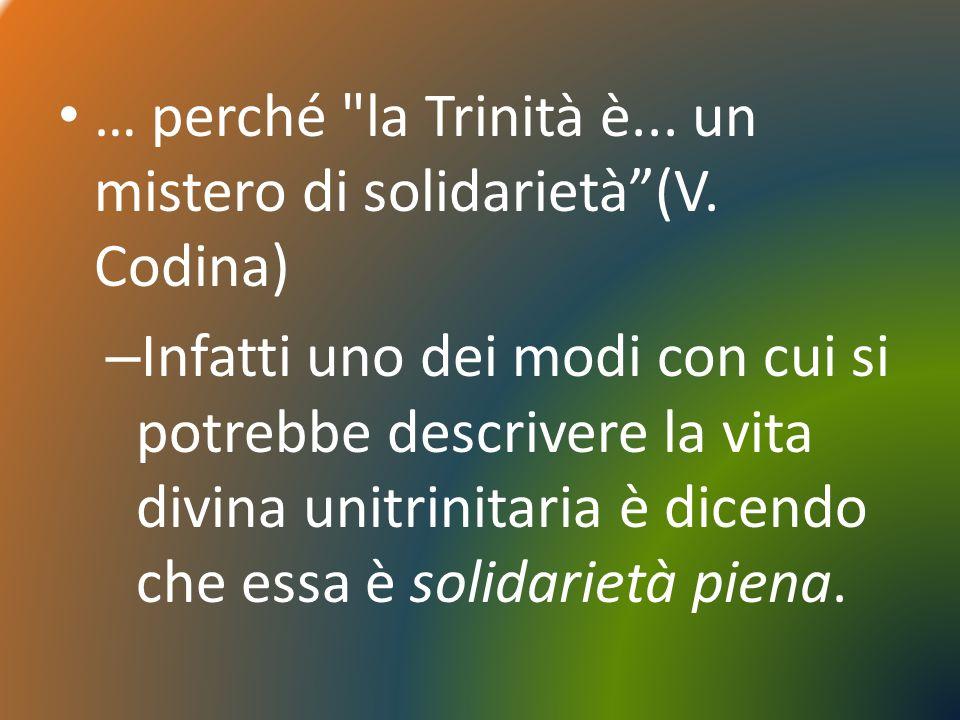 … perché la Trinità è... un mistero di solidarietà (V. Codina)