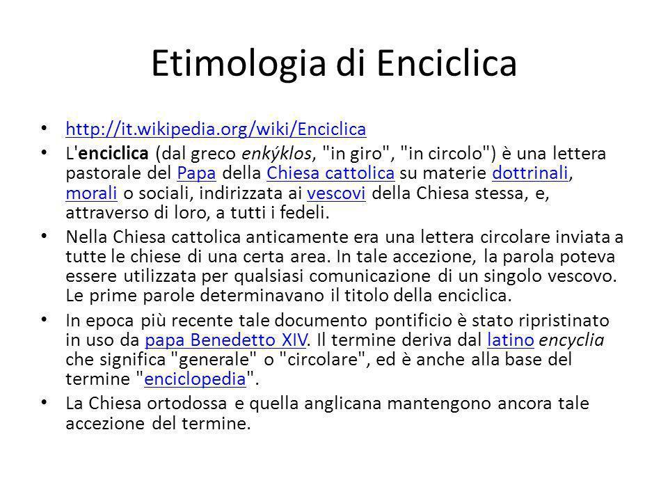Etimologia di Enciclica