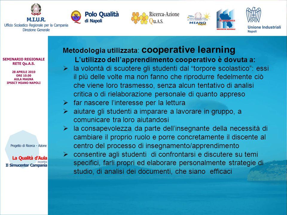 Metodologia utilizzata: cooperative learning