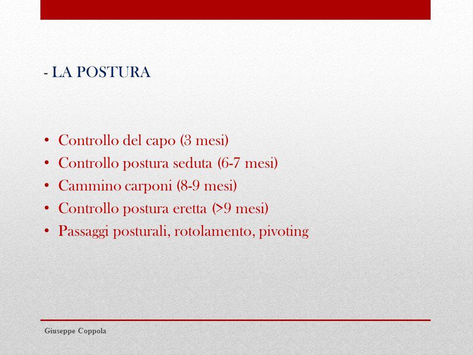 Controllo del capo (3 mesi) Controllo postura seduta (6-7 mesi)