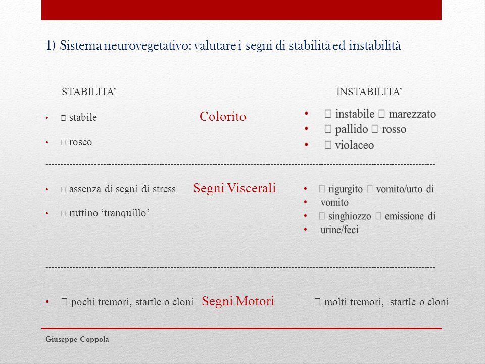 1) Sistema neurovegetativo: valutare i segni di stabilità ed instabilità